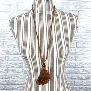 Vintage Long Suede & Stone Necklace Large Pendant